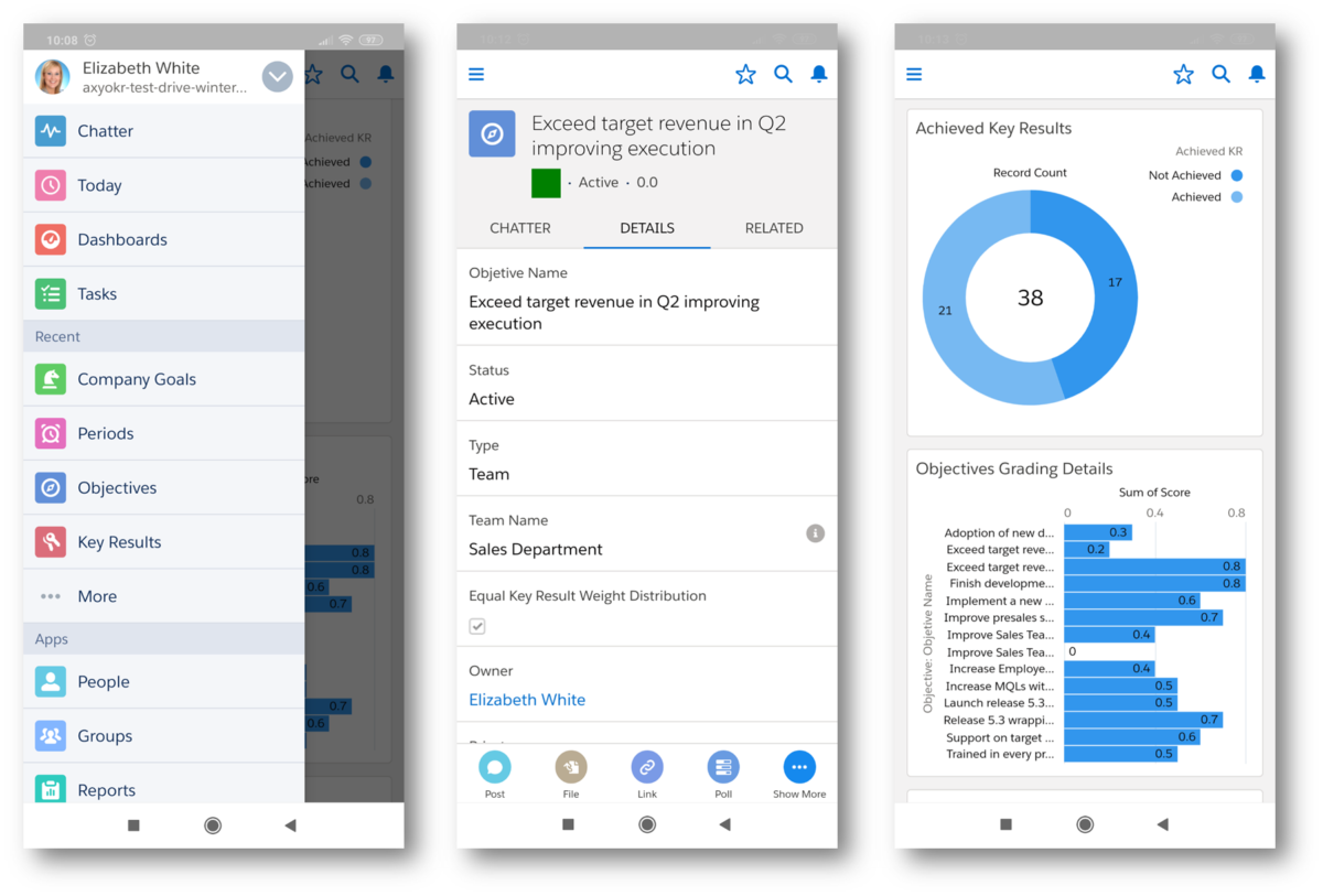 Mobile view of Axy OKR with Salesforce mobile app