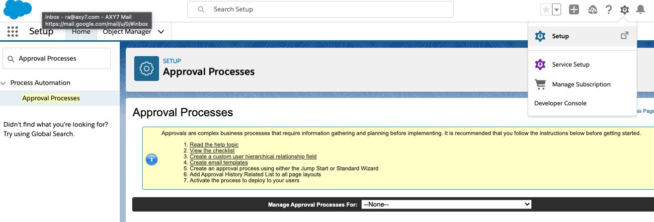Setup Approval Process Axy OKR